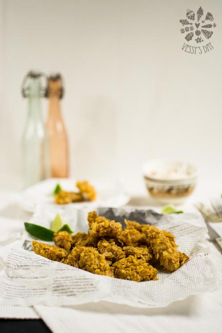 Здравословни пилешки хапки в корнфлейкс