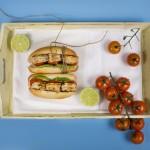 Сандвич с гриловани ментови скариди и тиквички